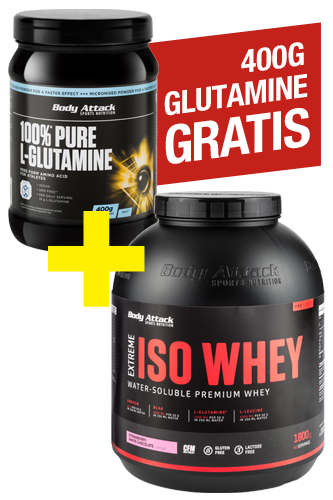 Body Attack Extreme Iso Whey 1.8kg + 100% Pure L-Glutamine 400g for free *special offer*