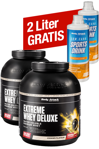Extreme Whey Deluxe 2 x 2,3kg + 2 x gratis Low Carb Sports Drink - 1000 ml